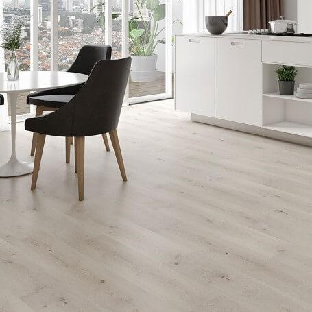 Hybrid timber flooring pattern dining room